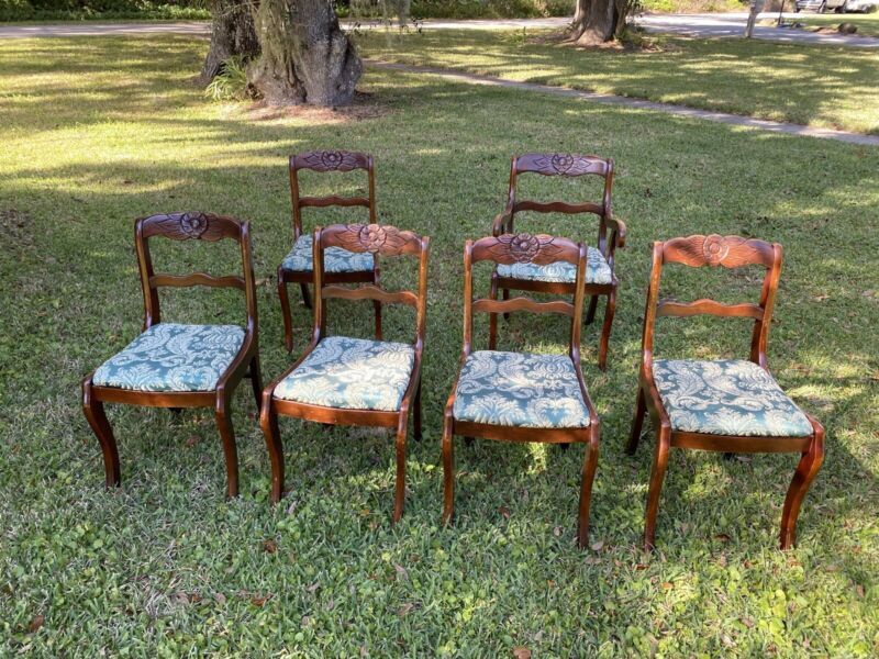 6 Duncan Phyfe Dining Carved Rose Rosette Back One Arm Chair Shipping Available