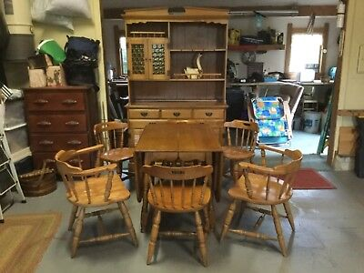 Furniture Dining Room Set, drop leaf table, server hutch glass doors six chairs ()