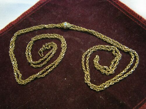 """Victorian Gold Filled 50"""" Cable Chain w/ OPAL & SEED PEARL SLIDE, 14K Watch Bale"""