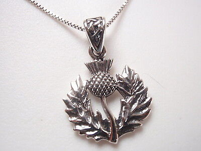 Thistle Necklace 925 Sterling Silver National Flower of Scotland National Silver Thistle