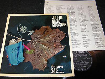 JULIETTE GRECO Chansons / 60s German LP PHILIPS 24TWEN B 77981 L