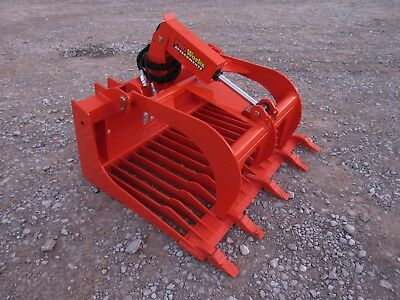 Kubota Tractor Skid Steer Attachment - 48 Rock Bucket Tooth Grapple - Free Ship