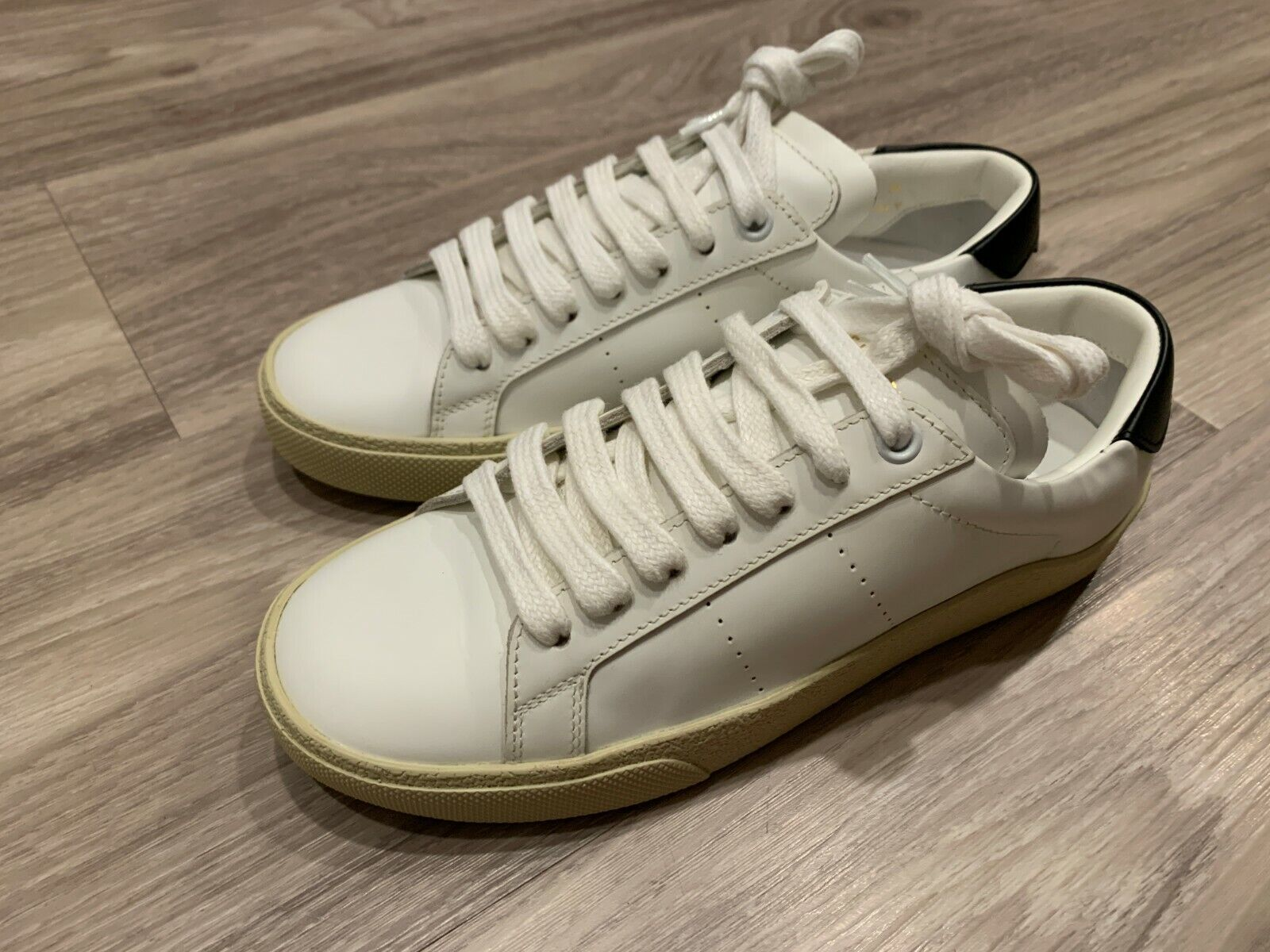 Saint Laurent YSL Court Classic White Navy Womens Shoes Sneakers Leather 35