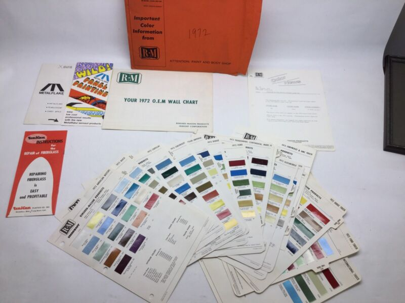 1972 Rinished Mason Paint Chips And Wall Chart Domestic Cars