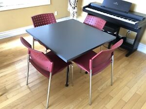 Square Table with 4 Stackable chairs