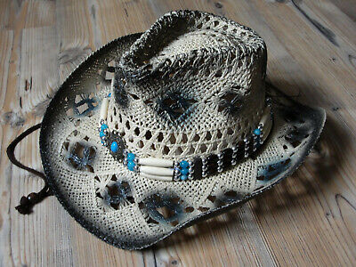Cowboyhut mit Perlenkette hell braun  54 - 55 / 56 - 57 RB (Western Perlenketten)