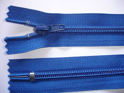 2 Stück Reißverschluß YKK blau 12cm lang, nicht teilbar X111