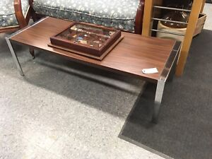 CHROME/WOOD MID CENTURY COFFEE TABLE