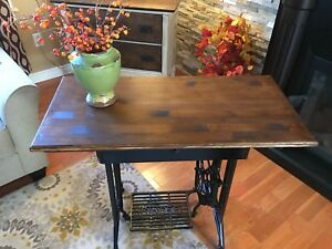 Repurposed antique sewing machine table only one left