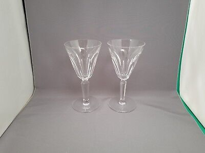 """2 Waterford Crystal Clodagh Pattern Wine Glasses 6 1/4"""" Tall"""
