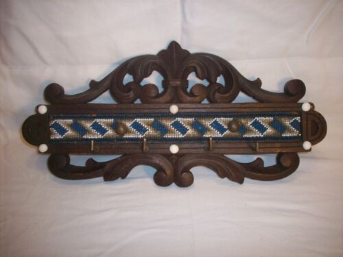 VICTORIAN CARVED WALL HUNG KEY RACK INDIAN STYLE BEAD WORK