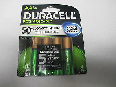 New Duracell AA 4pack- (Double A) 2500mAh, Ni-MH Rechargeable Batteries DX1500