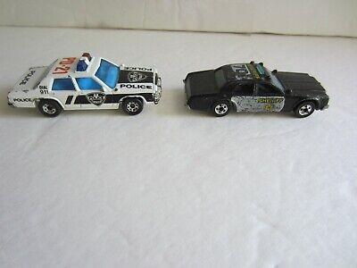 Vintage Die Cast White Matchbox  '87 POLICE CAR + Black SHERIFF Hot Wheels '77