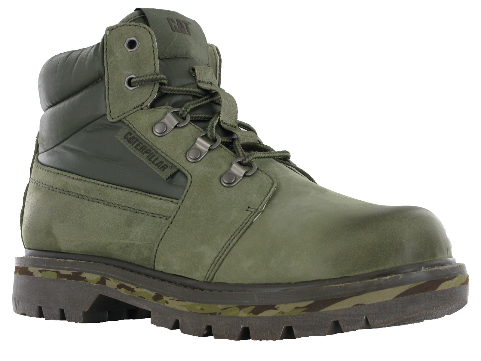Details about CAT Caterpillar Junction Ankle Boots Mens Suede Leather Burnt Olive Camo Shoes