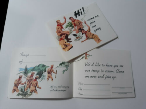 2-Count Vintage HI! BSA Boy Scouts of America Invitation Recruitment Cards