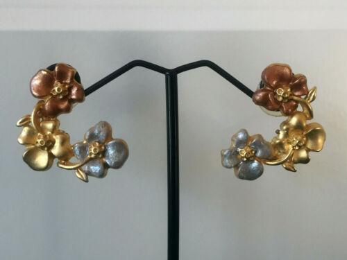Vintage Peach and Blue Enamel Gold Tone Flower Earrings - Pierced