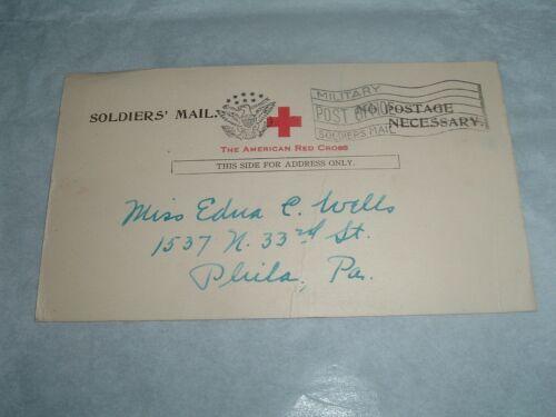 WW1 AEF Red Cross arrived  Postcard 128th Field Artillery Lt. Charles H. Wells