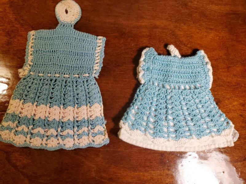 Vtg Turquoise White Crochet Lace Dress Potholders