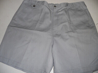 TOWNCRAFT 38 x 7 Comfort Fit Back Elastic Waist Flat Front Gray - Comfort Fit Flat Front Shorts