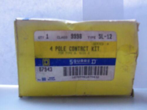 New Square D 87943 4 Pole Contact Kit Type SL-12 Class 9998 Size 0 Type S NIB