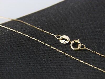 Real 14Kt yellow Gold thin BOX Chain Necklace Real 14k Solid gold  14k Yellow Gold Box Chain
