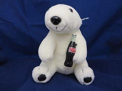 "Coca-Cola  Plush Collection Polar Bear w/ coca cola bottle 7"" plush toy"