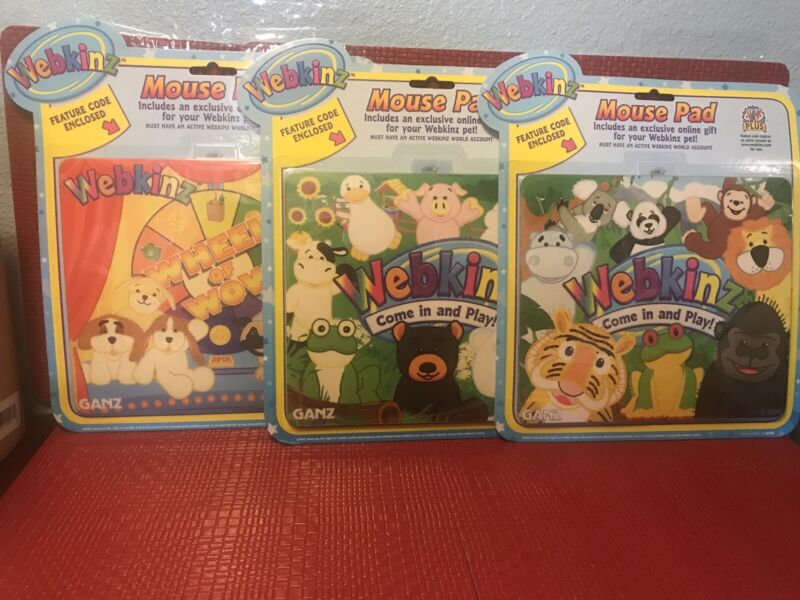 WEBKINZ Computer MOUSE PAD Lot of 3 By Ganz NEW UNOPENED with Feature Codes