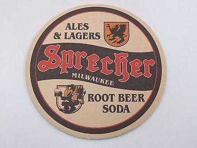 BEER COASTER: Sprecher Brewing Co ~ Root Beer Soda ~ Ales & Lagers Milwaukee WI Sprecher Root Beer Soda