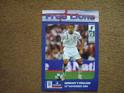 GERMANY V ENGLAND FREE LIONS, 19/11/2008, ISSUE 88