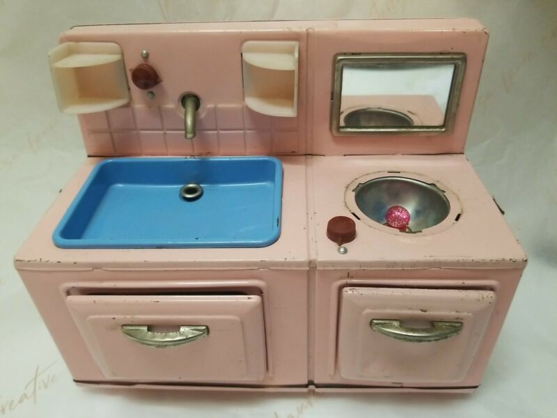 Vintage Japan 1950 1960 Little Pink Tin Litho Old Doll Sink Stove Combination