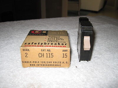 Cutler Hammer CH115 Circuit Breaker 1 Pole 15 Amp 120V METAL FOOT / FULL (Foot 15 Amp)