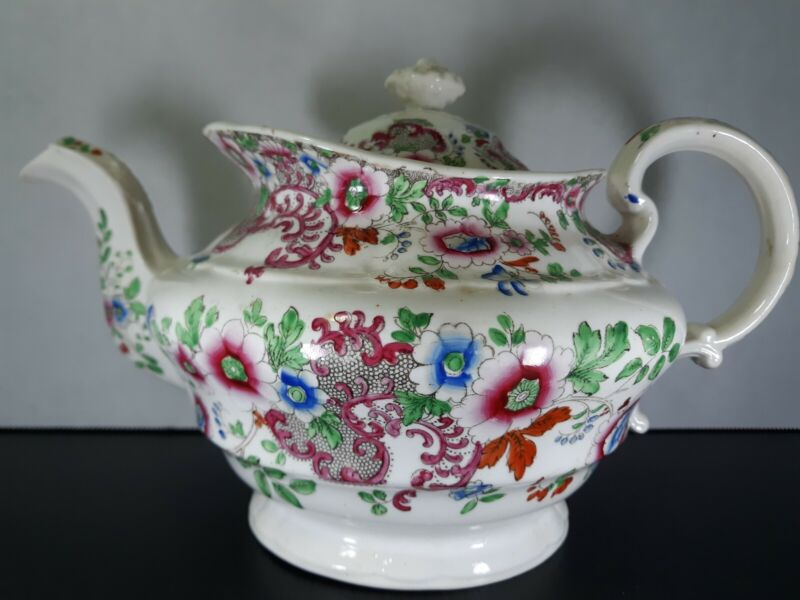 Antique Circa 1840s Georgian English Porcelain Teapot Good Condition