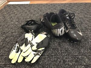Football Cleats, Gloves and Chin Strap