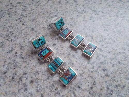 "Carl and Irene Clark Beautiful Navajo Sterling Silver Micro-Inlay Earrings ""NEW"""