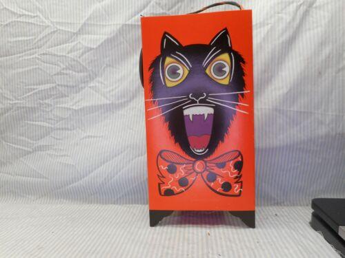 "Owl Cat Halloween Lantern, 12"" tall paper"