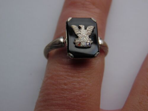 vintage LA Las Angles fraternal of eagles sterling rings size 10.5