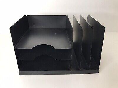 Vintage Mid Century Metal File Desk Organizer Slots Trays Black Woodgrain
