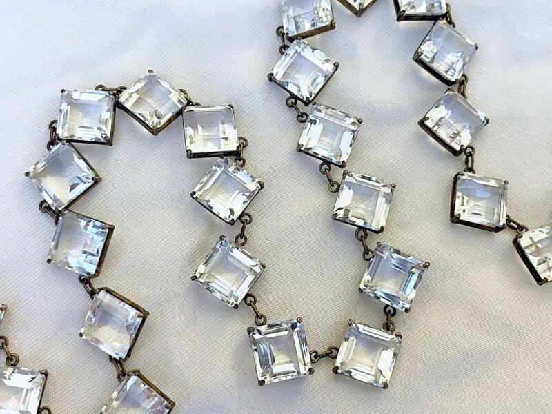 Vintage Antique Art Deco Sterling Quartz Rock Crystal Open Back Japan Necklace