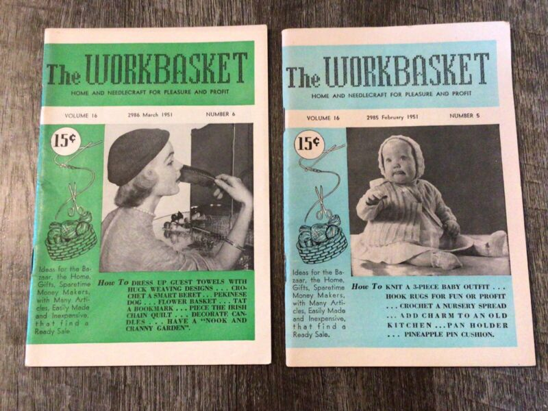LOT Of 2 Vintage 1951 The Workbasket Magazines February March