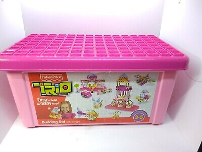 Fisher Price Pink Girls Trio R8867 Building Set in Storage Box (INCOMPLETE 82/97