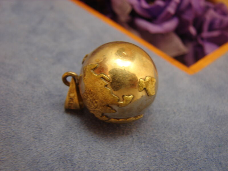 Sterling Silver & Brass Tinkling Fairy Harmony Chime Ball Planet Earth Pendant
