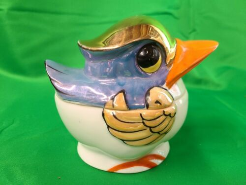 Vintage Japanese Hand Painted Sugar Bowl Bird