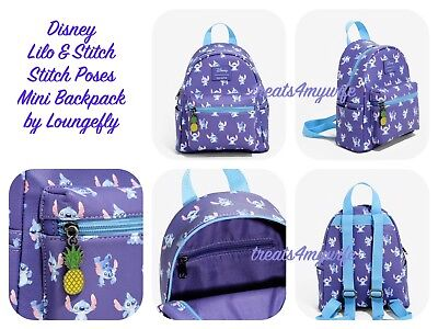 100% GENUINE Disney Lilo & Stitch~POSES Mini Backpack~Book Bag~Loungefly IN HAND (Mini Book Bags)