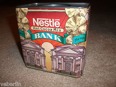 Vintage NESTLE Hot Cocoa Mix Coin Bank, Cardboard / Tin, Made in U.S.A.