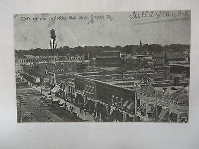 Vintage Reproduction Postcard Birds Eye Town View State Street Geneseo Illinois