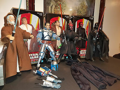 Star Wars Black Series 12 Inch 1 6 Lot Action Figures Obi Wan Vader Maul Jango