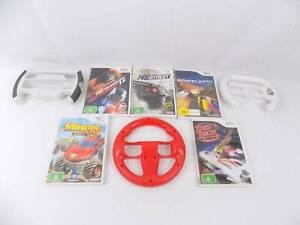 Nintendo Wii Racing Bundle   5x Racing Games   3x Steering Wheel