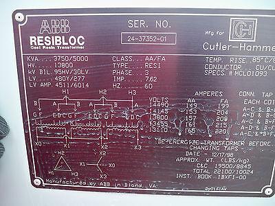 Cutler Hammerabb 37505000kva 13800-480y277 Dry Transformerd