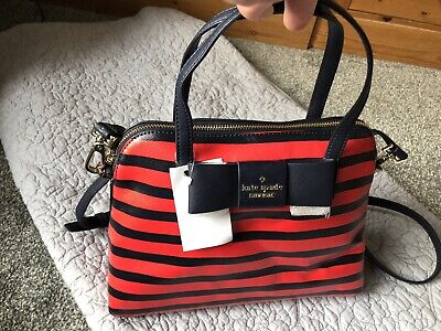 Kate Spade Red And Navy Stripe Bag