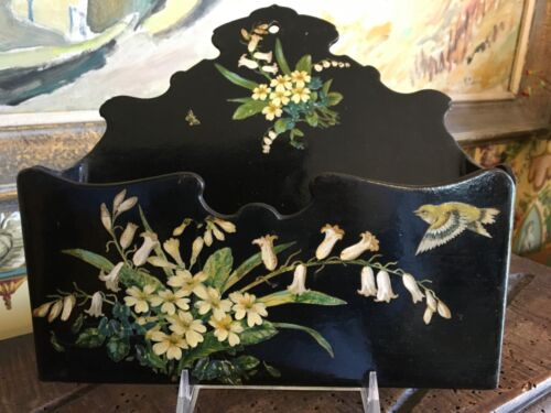 English Victorian Papier Mache Black Lacquer Wall Pocket Flowers Bird